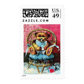 Baby Bear Benny - Letter B - Vintage Teddy Bear Stamp