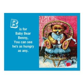 Baby Bear Benny - Letter B - Vintage Teddy Bear Postcard