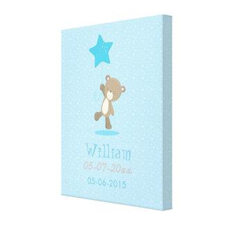 Baby Bear Blue Boy Flying With a Star Canvas Print