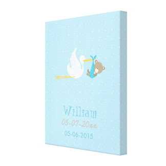 Baby Bear Blue Boy Flying With a Stork Canvas Print
