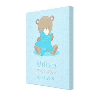Baby Bear Blue Boy Holding a star Canvas Print