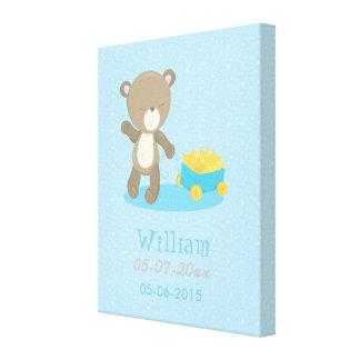 Baby Bear Blue Boy Pulling a Wagon Full Of Stars Canvas Print
