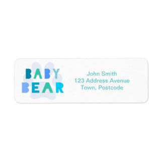 Baby bear - blue return address label