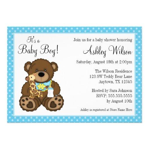 Personalized teddy bear baby shower invitations baby bear blue polka dots boy baby shower personalized invitation filmwisefo