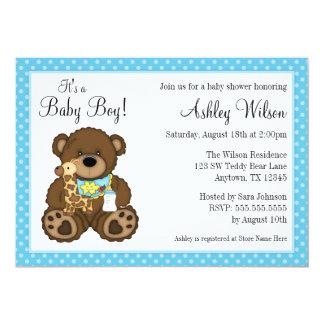 "Baby Bear Blue Polka Dots Boy Baby Shower 5"" X 7"" Invitation Card"