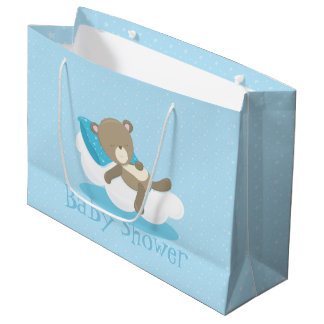 Baby Bear Blue Sleeping On A Cloud Large Gift Bag