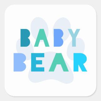Baby bear - blue square sticker