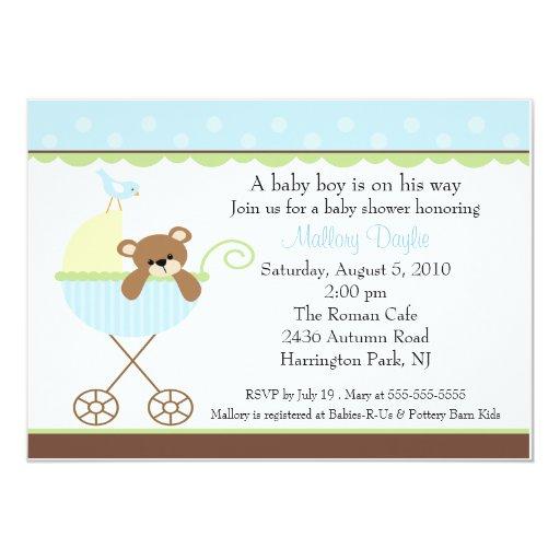 Baby Bear Carriage Boy Baby Shower Invitation