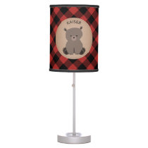 Baby Bear Cub Plaid Personalized Lamp