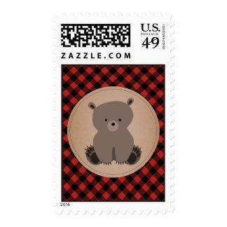 Baby Bear Cub Plaid Postage