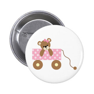 Baby Bear in Cute Pink Wagon Button
