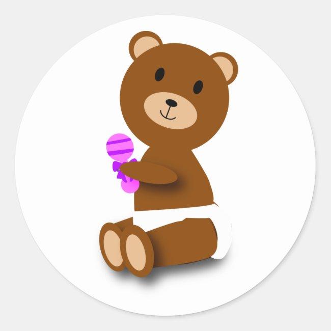 baby bear in diaper pink purple rattle sticker