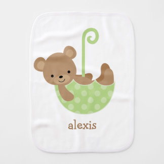 Baby Bear in Green Umbrella Personalized Burp Cloth