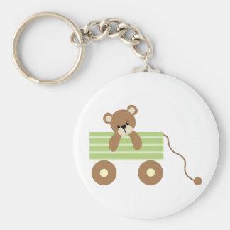 Baby Bear in Green Wagon Keychain
