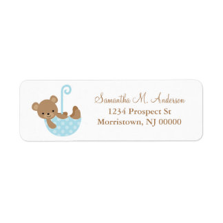 Baby Bear in Umbrella Return Address Labels