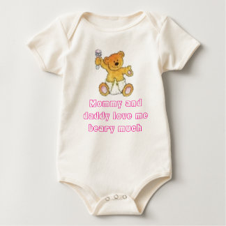 baby bear, Mommy and daddy love me beary much Baby Bodysuit