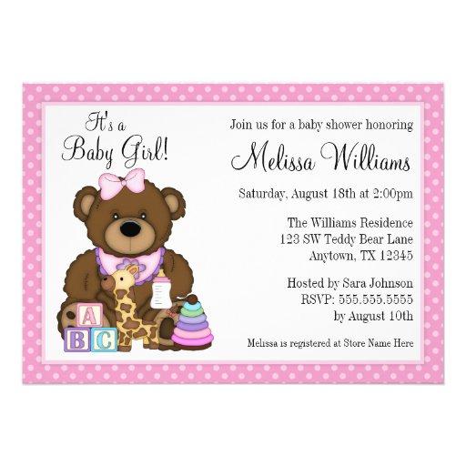 Baby Bear Pink Polka Dots Girl Baby Shower Custom Invitations