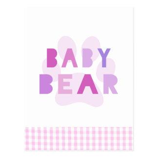Baby bear - pink postcard