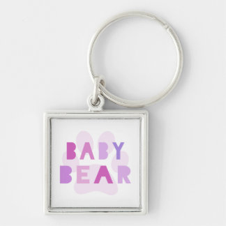 Baby bear - pink Silver-Colored square keychain