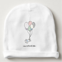 Baby Bear Rising With Hot Air Balloons Baby Beanie