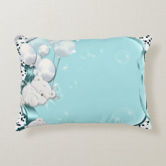 Baby bear sleeping with balloons accent pillow