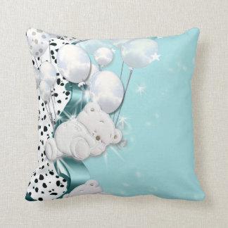 Baby bear sleeping with balloons throw pillows