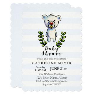 Baby Bear Watercolor Illustration Blue Stripes Card