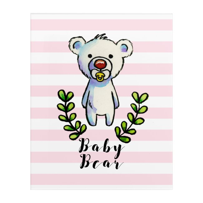 Baby Bear Watercolor Illustration Pink Stripes