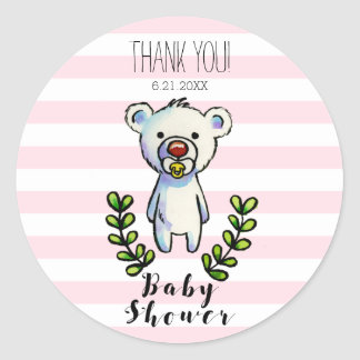 Baby Bear Watercolor Illustration Pink Stripes Classic Round Sticker