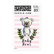 Baby Bear Watercolor Illustration Pink Stripes Postage