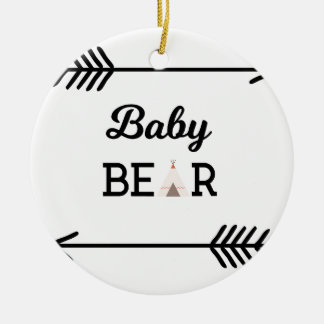 Baby Bear with Arrows Ceramic Ornament