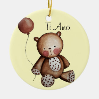 Baby bear with Balloon Ornament Yellow Background