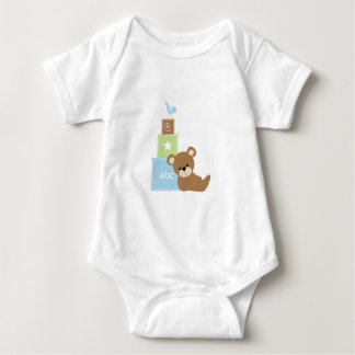 Baby Bear with Blue Toy Block Baby Bodysuit
