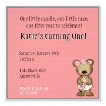 Baby Bear with Doll Invitation
