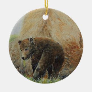 Baby Bear with Mama Bear Ceramic Ornament