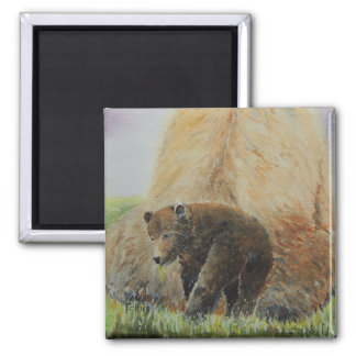 Baby Bear with Mama Bear 2 Inch Square Magnet