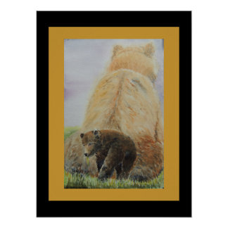 Baby Bear with Mama Bear Poster