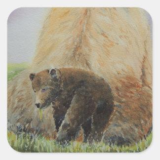 Baby Bear with Mama Bear Square Sticker