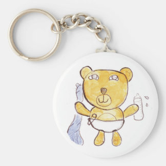 baby bear with milk bottle keychain