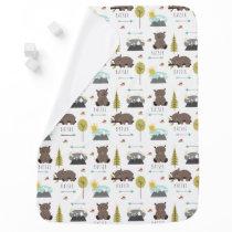 Baby Bear Woodland Pattern Blanket