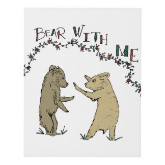 Baby Bears Playing Children's Illustration Panel Wall Art