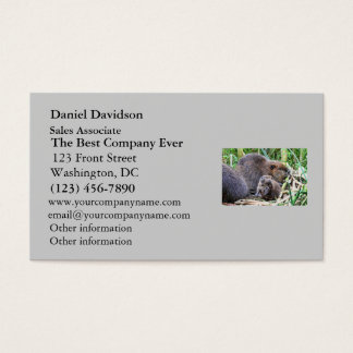 Baby Beaver and Family Photo Business Card