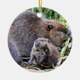 Baby Beaver and Family Photo Christmas Tree Ornaments