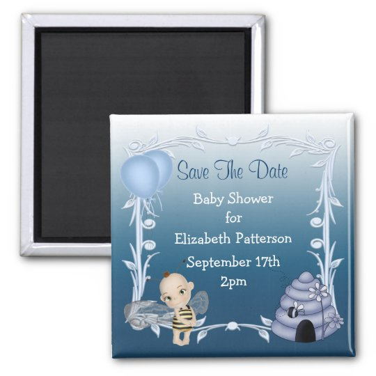 Baby Bee & Beehive Blue Baby Shower Save The Date Magnet