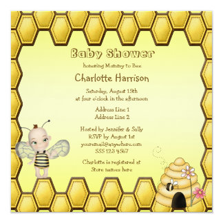 Baby Bee, Beehive & Honeycomb Frame Baby Shower Custom Announcements