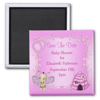 Baby Bee & Beehive Pink Baby Shower Save The Date Refrigerator Magnets