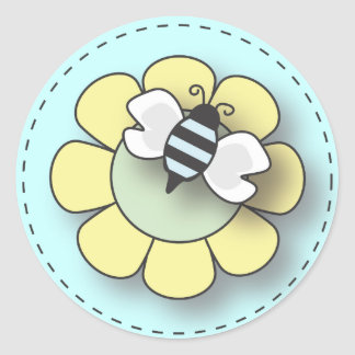 Baby Bee in Blue Classic Round Sticker