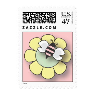 Baby Bee in Pink Postage Stamp