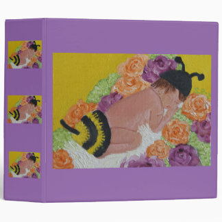 BABY BEE ON FLOWER BED 3 RING BINDER