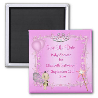 Baby Bee Pink Princess Baby Shower Save The Date 2 Inch Square Magnet